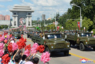Participants in Military Parade Welcomed by Pyongyang Citizens